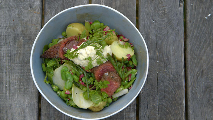 Roasted wallaby with horseradish creme fraiche, potato and broad bean salad