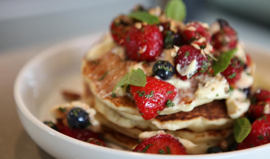 Ben's blueberry pancake stack