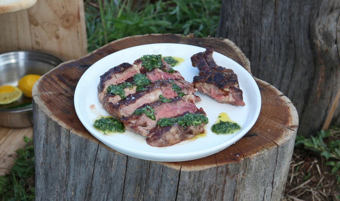 Barbecued rib-eye with chimmichurri