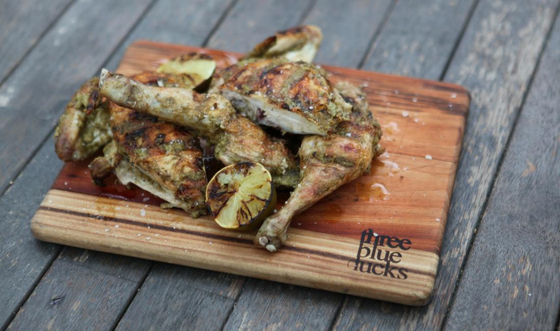 Barbecued brick jerk chicken